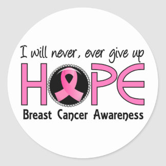 Never Give Up Hope 5 Breast Cancer Classic Round Sticker