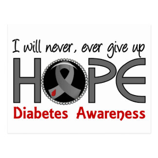 Never Give Up Hope 5 Diabetes Postcard