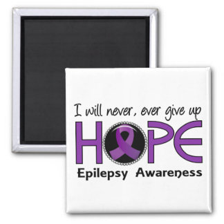 Never Give Up Hope 5 Epilepsy 2 Inch Square Magnet