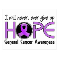 Never Give Up Hope 5 General Cancer Postcard