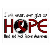 Never Give Up Hope 5 Head and Neck Cancer Postcard