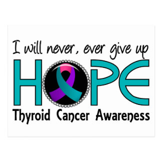Never Give Up Hope 5 Thyroid Cancer Postcards