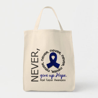 Never Give Up Hope Anal / Rectal Cancer Canvas Bags
