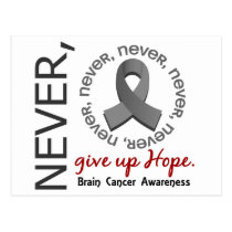 Never Give Up Hope Brain Cancer Postcard