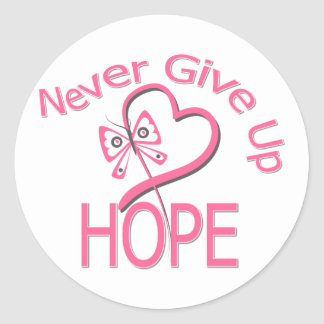 Never Give Up Hope Breast Cancer Classic Round Sticker