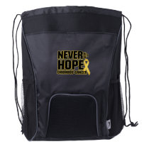 Never Give Up Hope Childhood Cancer Drawstring Backpack