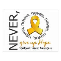 Never Give Up Hope Childhood Cancer Postcard