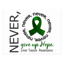 Never Give Up Hope Liver Cancer Postcard