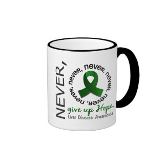 Never Give Up Hope Liver Disease Ringer Coffee Mug