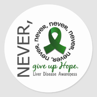 Never Give Up Hope Liver Disease Classic Round Sticker