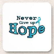 Never Give Up Hope Ovarian Cancer Awareness Beverage Coaster