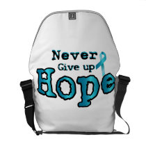 Never Give Up Hope Ovarian Cancer Awareness Courier Bag