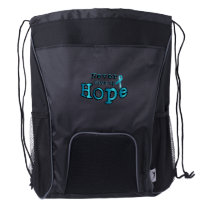 Never Give Up Hope Ovarian Cancer Awareness Drawstring Backpack
