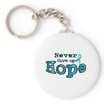 Never Give Up Hope Ovarian Cancer Awareness Keychain