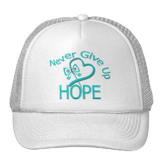 Never Give Up Hope Ovarian Cancer Trucker Hat