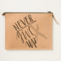 NEVER GIVE UP Leather Travel Pouch