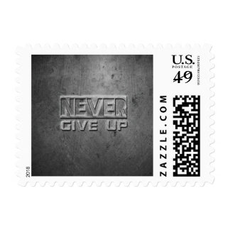 """""""Never Give Up"""" Metal Text Postage"""