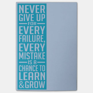 Never Give Up motivational post-it notes Post-it® Notes