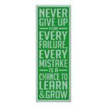 Never Give Up motivational poster Posters