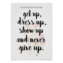 Never Give Up Motivational Quote Typography Poster