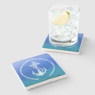 Never Give Up On Dream Blue Ocean Vintage Anchor Stone Coaster