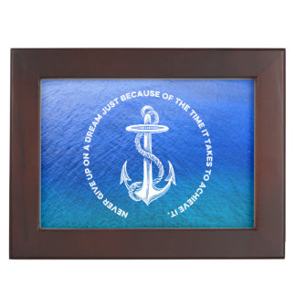 Never Give Up On Dream Blue Ocean Vintage Anchor Memory Box