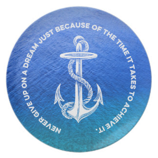 Never Give Up On Dream Blue Ocean Vintage Anchor Plate