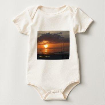 Beach Themed Never Give Up Orange Sunset Beach Baby Bodysuit