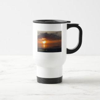 Never Give Up Orange Sunset Beach Travel Mug