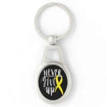NEVER GIVE UP Oval Metal Keychain