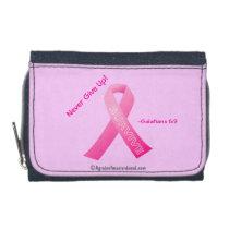 Never Give Up Pink Ribbon Wallet