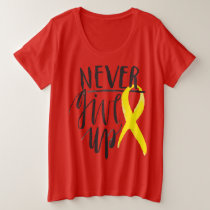 NEVER GIVE UP Plus-Size Basic T-Shirt