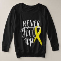 NEVER GIVE UP Plus-Size French Terry Long Sleeve Plus Size Sweatshirt