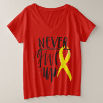 NEVER GIVE UP Plus-Size V-Neck T-Shirt