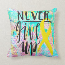 "NEVER GIVE UP Polyester Throw Pillow 16"" x 16"""