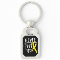 NEVER GIVE UP Rectangle Metal Keychain