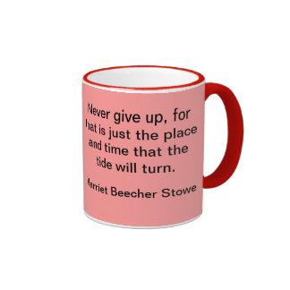 Never give up ringer coffee mug