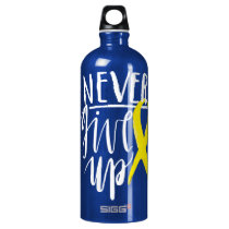 NEVER GIVE UP Traveller (1.0L), Dark Blue Aluminum Water Bottle