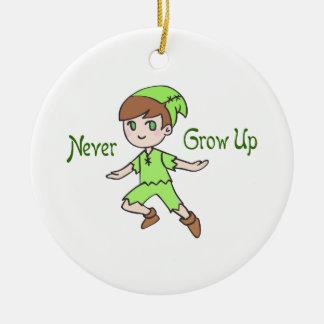 NEVER GROW UP CERAMIC ORNAMENT