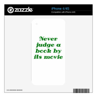 Never Judge a Book by its Movie Decal For iPhone 4