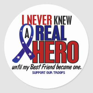 Never Knew A Hero 2 Best Friend (Support Our Troop Classic Round Sticker