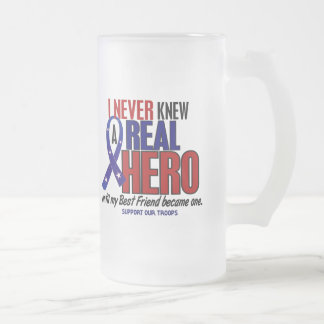 Never Knew A Hero 2 Best Friend (Support Our Troop 16 Oz Frosted Glass Beer Mug