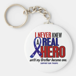Never Knew A Hero 2 Brother (Support Our Troops) Basic Round Button Keychain
