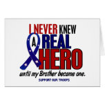 Never Knew A Hero 2 Brother (Support Our Troops) Greeting Card