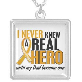 Never Knew a Hero 2 Dad Appendix Cancer Silver Plated Necklace
