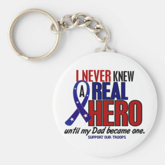 Never Knew A Hero 2 Dad (Support Our Troops) Keychain