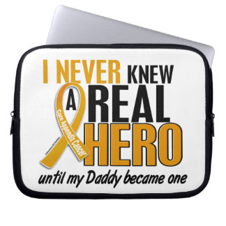 Never Knew a Hero 2 Daddy Appendix Cancer Laptop Sleeves