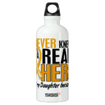Never Knew a Hero 2 Daughter Appendix Cancer Aluminum Water Bottle
