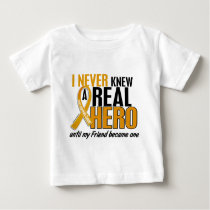 Never Knew a Hero 2 Friend Appendix Cancer Baby T-Shirt