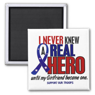 Never Knew A Hero 2 Girlfriend Support Our Troops 2 Inch Square Magnet
